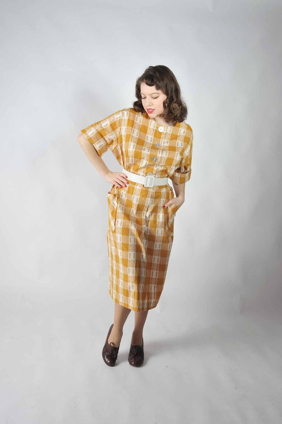 Vintage 1950s Dress // Mustard and White Cotton Plaid Check Day Dress  XL XXL