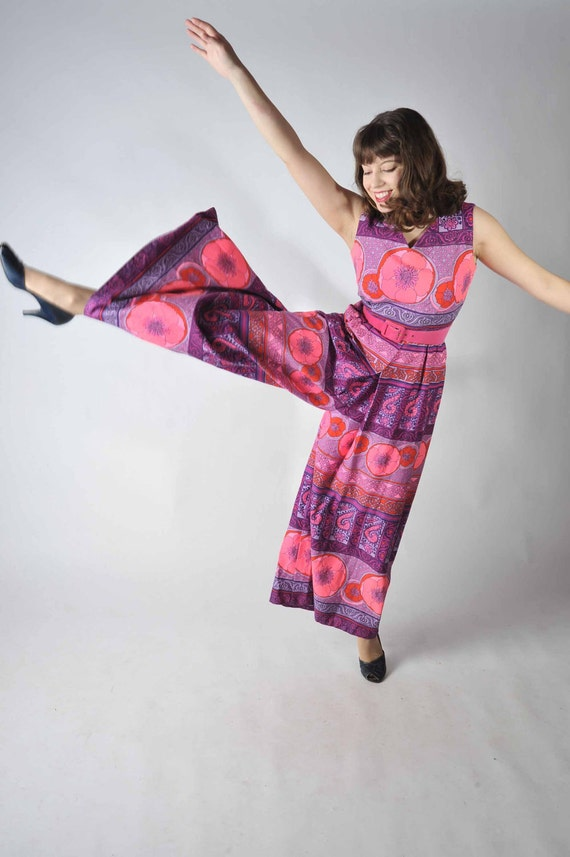 Vintage 1960s Hawaiian Pantsuit // Hot Pink and Purple Barkcloth Jumpsuit by Alice Polynesian Fashions