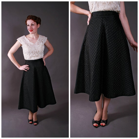 1950s Vintage Skirt Cute Black Quilted Satin A-Line Skirt