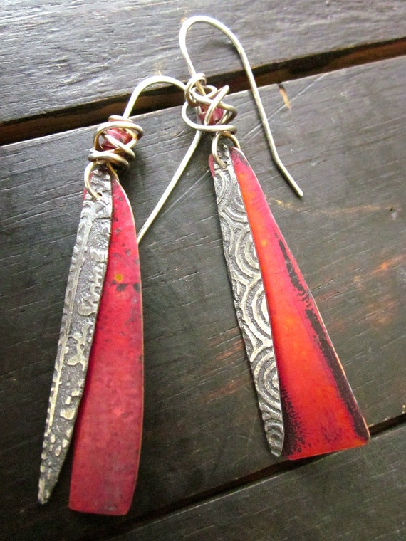 Snippet Copper Tips The Nailasaurus: Sterling And Copper Shard Earrings By Celiefago On Etsy