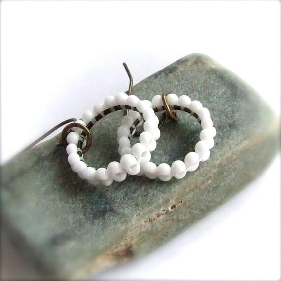SALE - White Beadwork Dangle Drop Earrings Beaded Woven Beadwoven Little Hoops