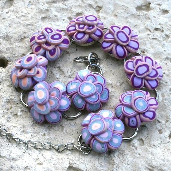 Purple Lotus Flower Bezel Bracelet, Silver Bezel Set Bracelet, polymer clay jewelry