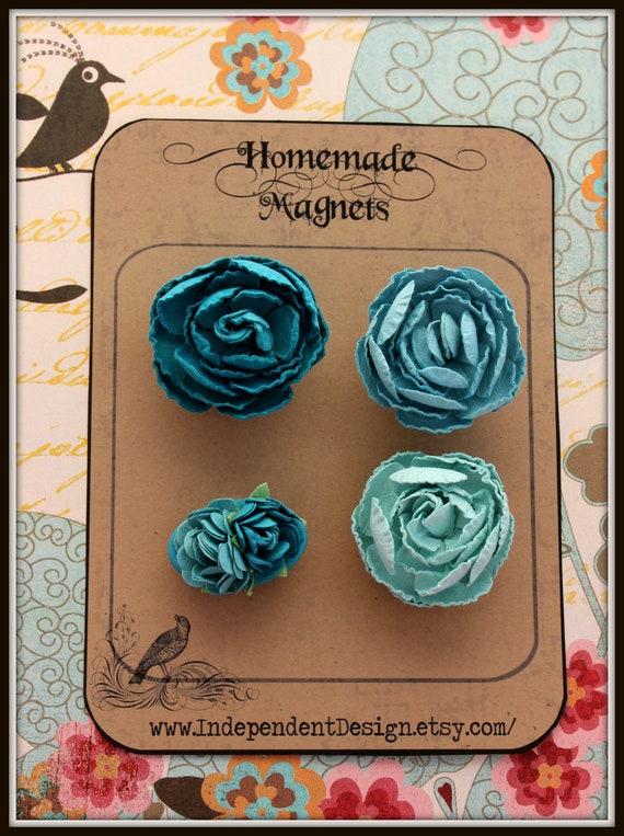 Blue Paper Flower Magnets - Set of 4