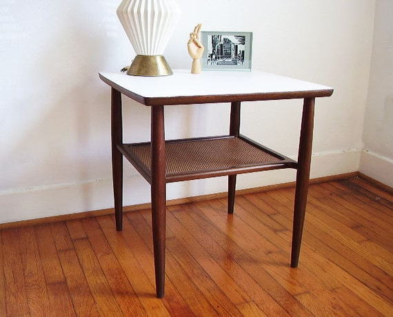 Mid Century Two Tier Wooden Side Table with White Laminate Top