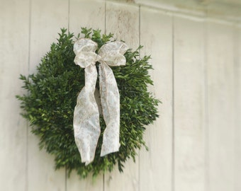 "Fresh Boxwood Wreath, 16"" boxwood wreath, fresh wreath, summer boxwood wreath, wedding wreath"