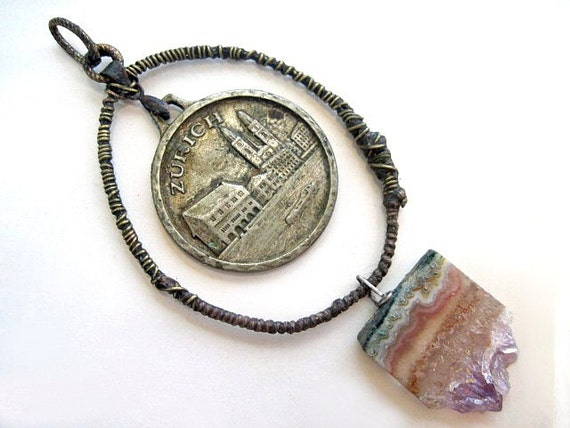 Zurich. Victorian Tribal Rustic Antique Medal and Amethyst Slab Pendant.