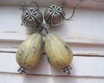 Clamation dangle earrings, army green Lucite, silver beaded earrings