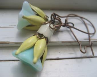 Fairy Maiden earrings, vintage enamel and Czech glass flowers, woodland earrings