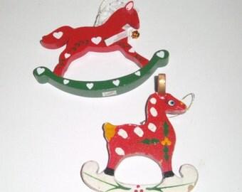 Vintage Wood Christmas Ornaments - Reindeer Ornament - Rocking Horse Ornament - Wood Ornaments - Holiday Ornaments - Horse Ornaments