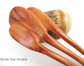 Hairfork, Hair Forks, Tulip Wood 3 Prong Mini Jugendstil Hair Fork Grahtoe Handmade