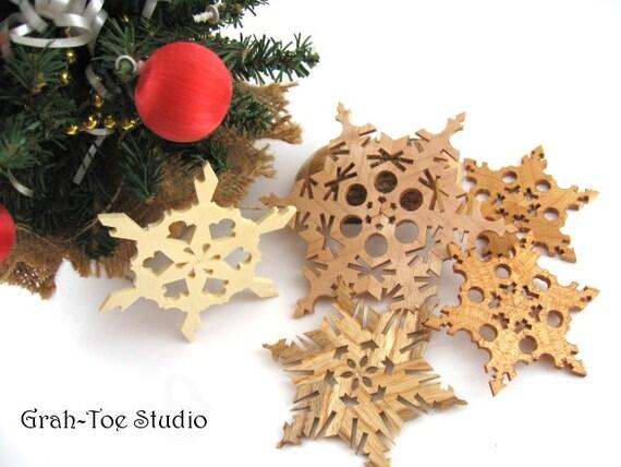 Snowflakes Ornaments Wooden Star Decorations Garland Christmas Yule Hanukkah Holidays Winter Ornament Grahtoestudio Handmade