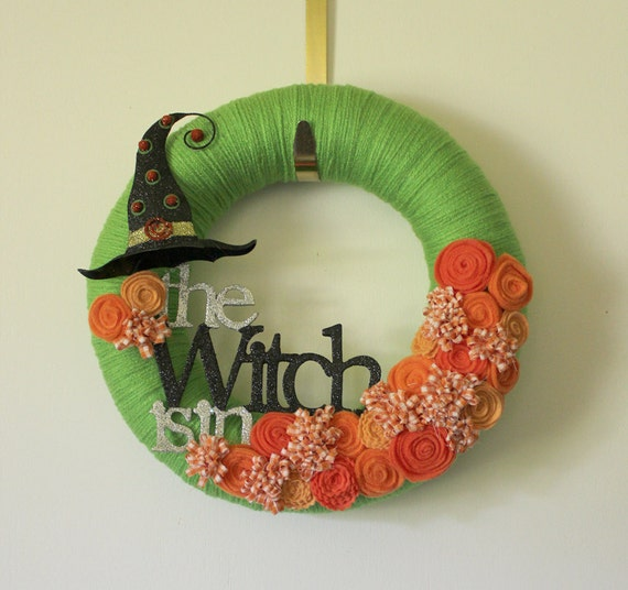 Witch Wreath, Halloween Wreath, Orange and Green Wreath, 12 inch Size