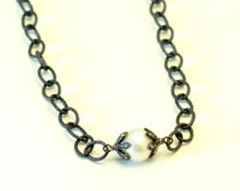 Pave diamonds pearl and sterling silver necklace