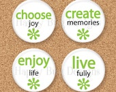 "SALE Two Word Wisdom Magnet Set ""JOY"" - Set of 4 - 1.25 inch 1-1/4"" Magnets"
