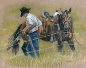Cowboy and Quarter Horse  Print from Colored Pencil Drawing - B Bruckner