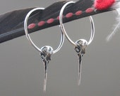 Hummingbird Skull Hoop Earrings - Life Size Sterling Silver Ruby Throated Humming Bird Skull Earrings 008