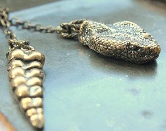 Snake Lariat Necklace -Rattlesnake Lariat Bronze Rattle Snake Necklace - Moon Raven Designs 046 112