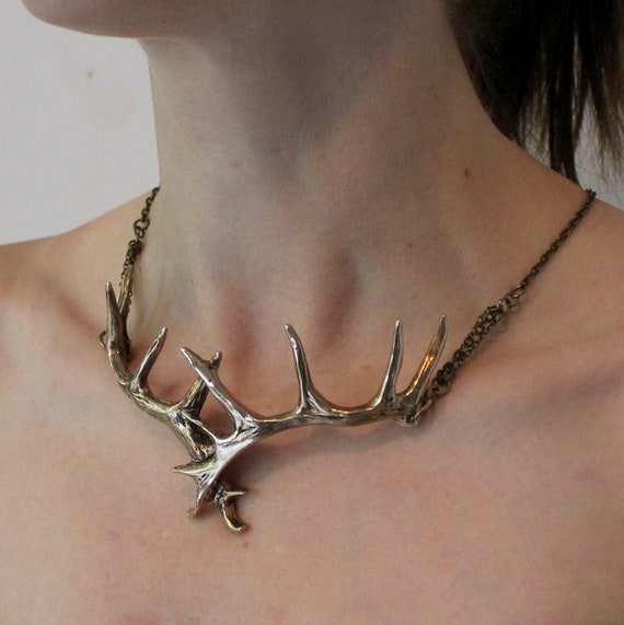 Stag Antler Choker Necklace In Solid Jewelers Bronze Elk Antler Choker Necklace 152