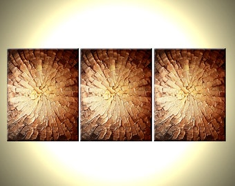 Original Abstract Gold Bronze Metallic Textured PAINTING Fine Art By Lafferty - 12X27 - Three MINI Canvases