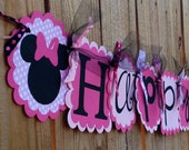 Happy Birthday Banner- Minnie Mouse in Pinks