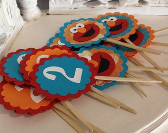 Turquoise Elmo Cupcake Toppers- Set of 12