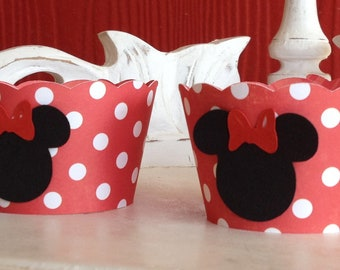 Classic Red Polka Minnie Mouse Cupcake Wrappers- Set of 12