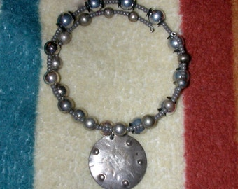 Double Wrap Around Bracelet of Silver Beads with Gray Seed Beads on Memory Wire Sterling Pendant YOU ENGRAVE