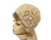 Chunky Hat and Scarf Set Beige with Flower Applique Christmas Gift