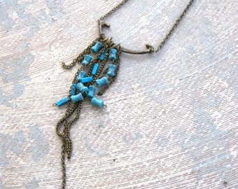 Boho Turquoise Necklace - Turquoise and Long Chain Fringe - Antique Hardware Collection