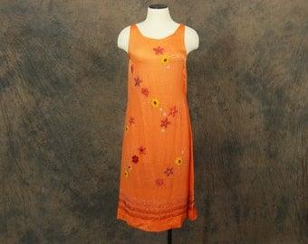 vintage 20s Flapper Dress - 1920s Orange Silk Beaded Dress Sz XS S