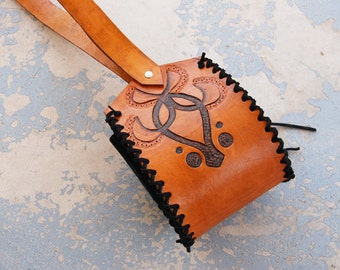Tooled Leather Purse - Brown and Black Abstract Flower Shoulder Bag - Custom Made to Order