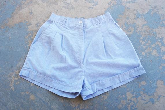 vintage High Waist Shorts - 80s Blue and White Pinstripe Shorts Sz S