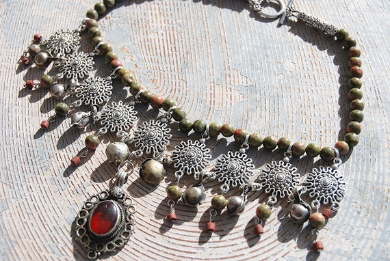Gypsy Necklace - Unakite and Kuchi Dangles - Bohemian Dance Collection
