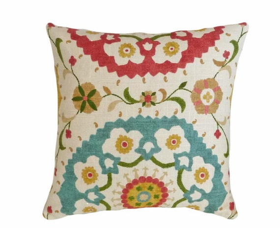 Colorful Decorator Suzani Pillow, Turquoise Blue and Red Medallions on Cream, Small Chair or Sofa Accent Cushion Cover16x16