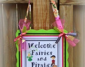 Fairies Pixies and Pirates Birthday Door Sign Personalized Custom to your Occasion Pink Green and White by Chocolatetulipdesign