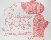 Mitten State of Mind (Warm Red), Letterpress Print