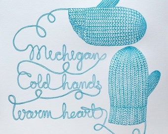 Mitten State of Mind (Turquoise), Letterpress Print