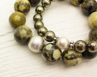 Frog Jasper Statement Bracelet / Mustard Yellow Olive Green Bead Bracelet / 100% Natural / Woodland Lake  Inspired / On Trend Fashion