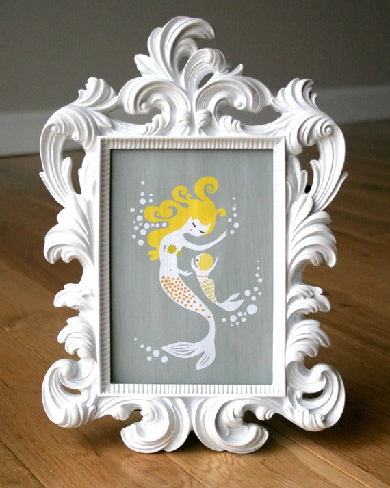 mermaid mother and baby girl 5X7 giclee print. gray and yellow. mothers day gift.