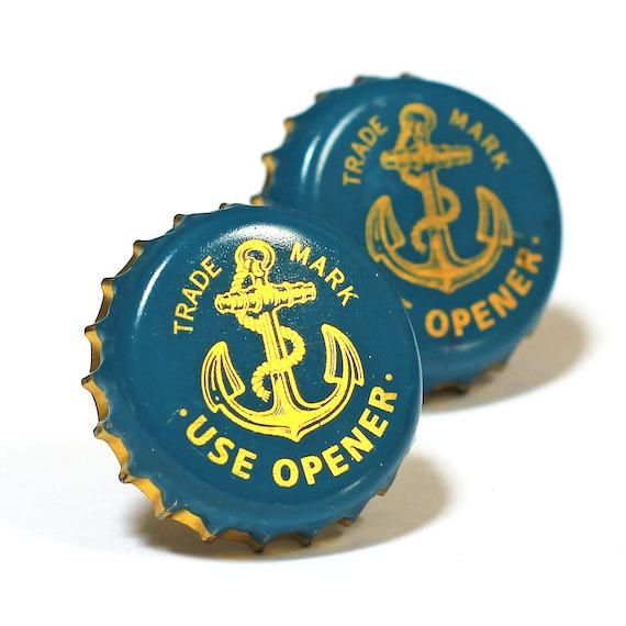 Blue Anchor San Francisco Beer Bottle Cap Cufflinks Cuff Links