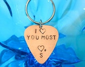 I LOVE YOU MOST Initial Guitar Pick Keychain