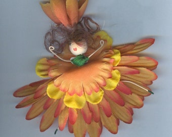 Flower Fairy with Auburn Hair and Orange Petals