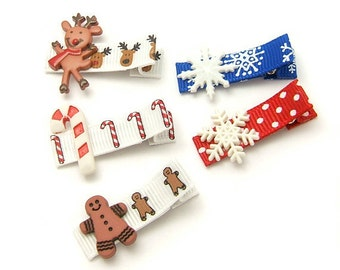 Winter Hair Clips Set, Baby Hair Clips, Gingerbread Man, Reindeer, Snowflake, Winter Clips, Baby Alligator Clips 35mm Toddler Clip Set