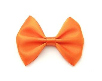 Bright Orange Satin Hair Bow, 3 Inch Bow, Classic Hair Bow No Slip Infant Hair Bow Tangerine Tango
