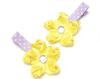 Yellow Flower Hair Clips, Satin Hair Clips, Satinm Flower Clip, Lavender, Polka Dots, Baby Toddler Girl