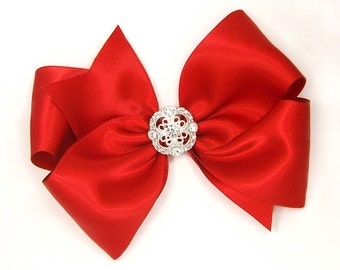 "Special Occasion Hair Bow, Rhinestone Center, Sparkly Holiday Bow for Prom, 6 Inch Red Satin Hair Bow, Women, Girls, 6"" Satin Bow with Bling"