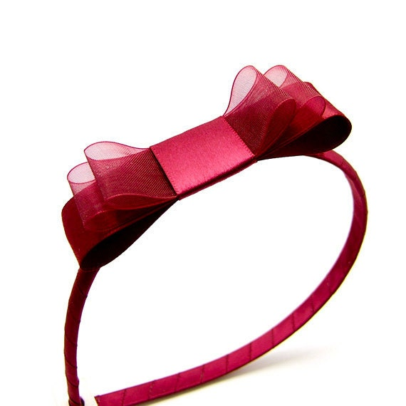 Burgundy Bow Headband, Garnet Satin Headband, Satin Bow, Satin Oxblood Headband, Triple Satin Bow, Sheer Organza and Satin, Winter Wedding
