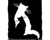 CAT Shadow - CLiNG RUBBER STAMP for acrylic block by Cherry Pie Art Stamps