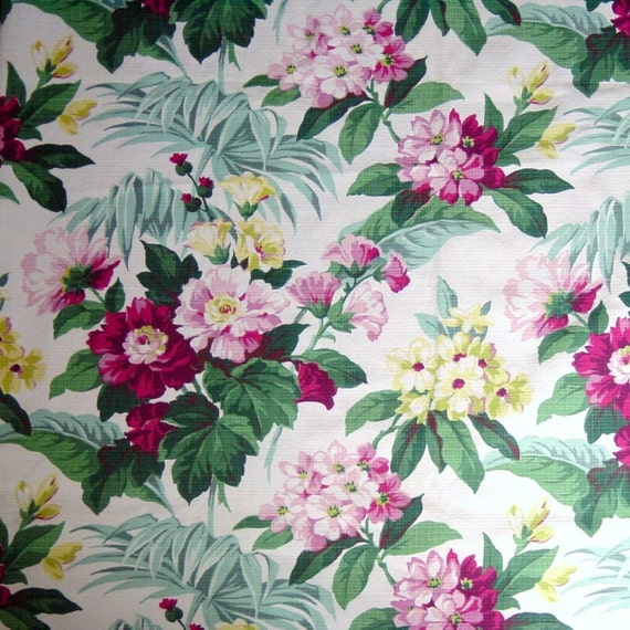 Two Vintage 40s Barkcloth Floral Curtains Mauve Pink Yellow Green on White Pair Drapes Fabric Panels 42 x 82 Each 1940s