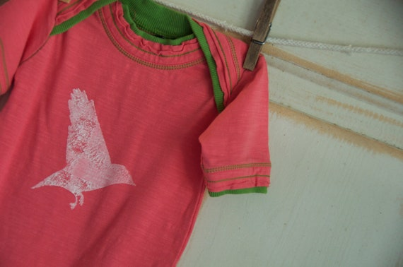 3-6 Month Pink and Green Infant Organic Bird in Flight Onesie